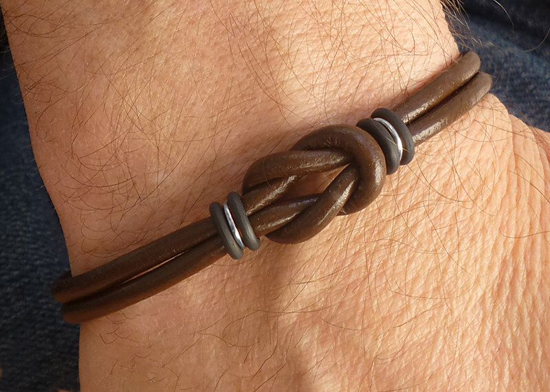 Souvent Mens Brown Leather Bracelet, Silver and Leather Celtic Bracelet  EB11