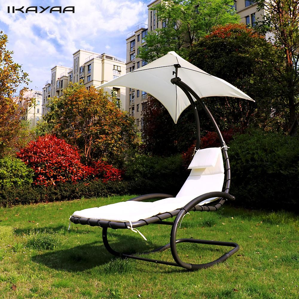 ikayaa rocking outdoor patio chaise lounge chair canopy garden