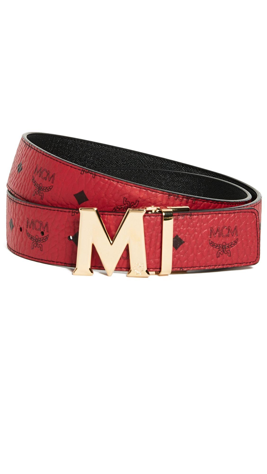 Gold M Buckle Reversible Belt In Red & Gold   Mcm belt, Belt