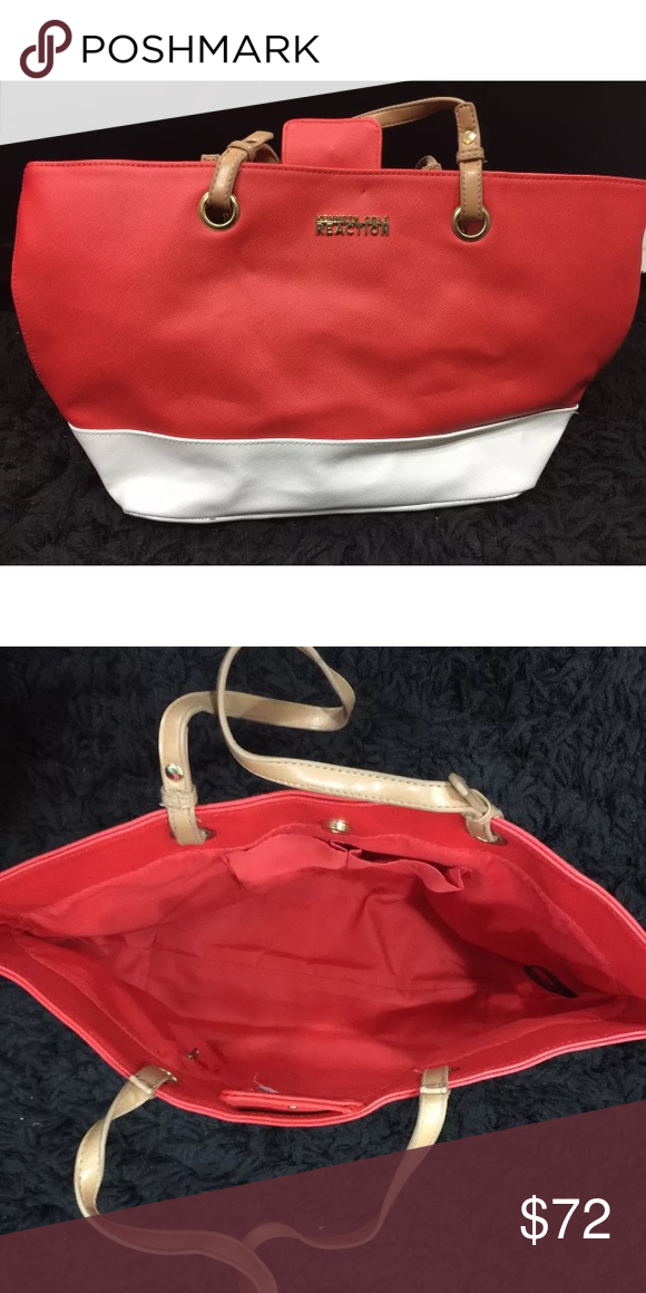 """Price Drop ⬇️ Kenneth Cole Reaction Tote Handbag PRODUCT DETAILS:  * Bag Height = 10""""  * Bag Depth = 6""""  * Name plate  * Magnetic closure  * Faux leather  * 2 tone color-block design  * Interior pocket zip Kenneth Cole Reaction Bags Totes"""