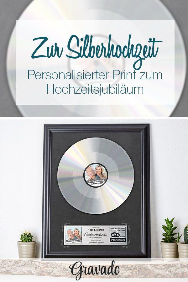 Silberne Schallplatte  Geschenk zur Silberhochzeit  Personalisiert  HOCHZEIT  Perfekte Ideen