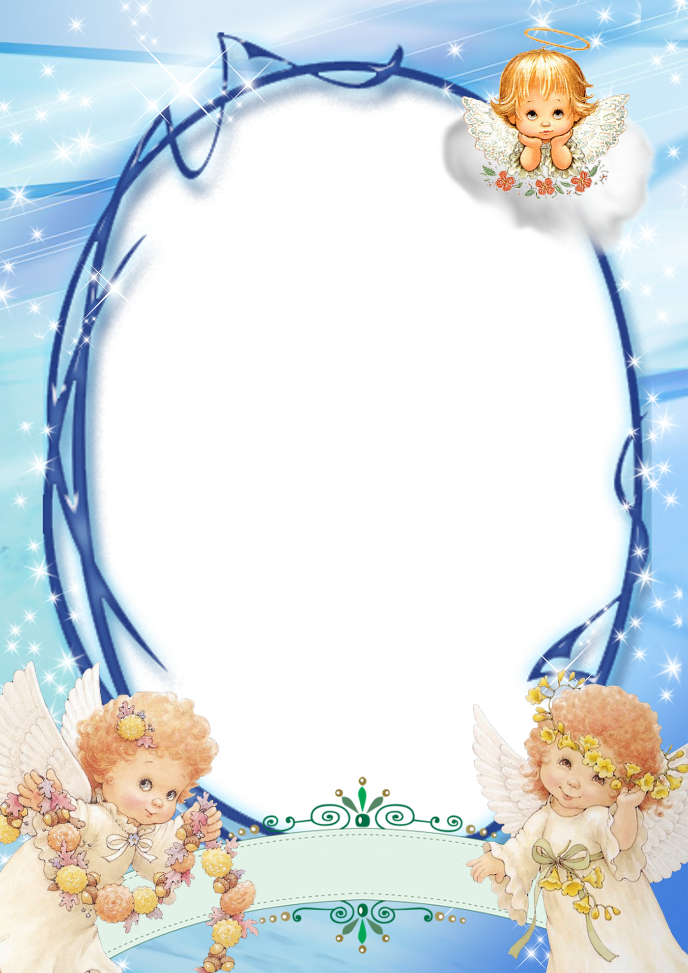 Transparent Blue PNG Frame with Angels | ovalados | Pinterest ...