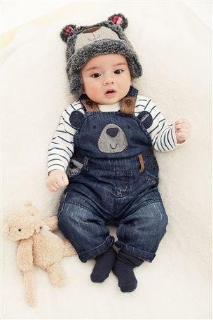 db0da51b4 Bear Denim Dungarees (0-18mths) Grey Bear Trapper Hat