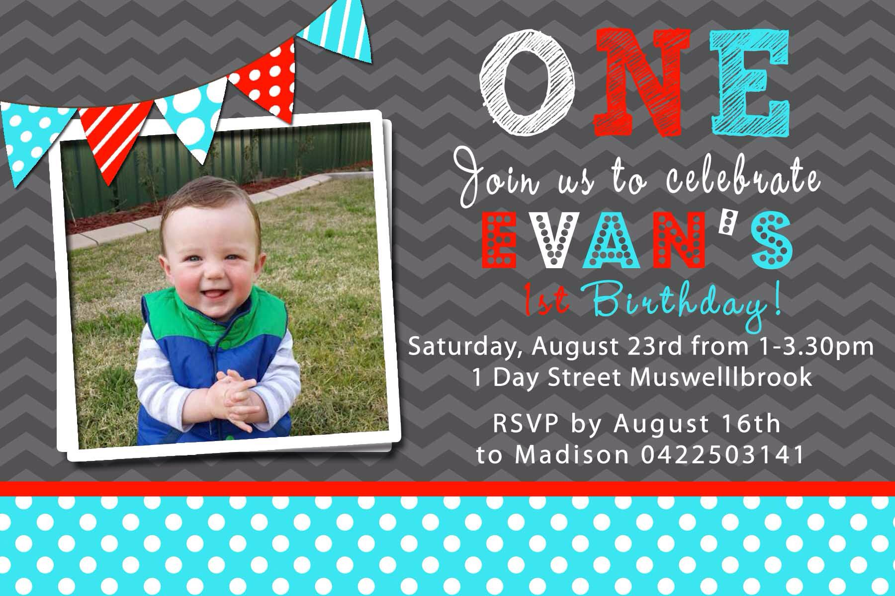 Evans 1st birthday invite Projects to try Pinterest