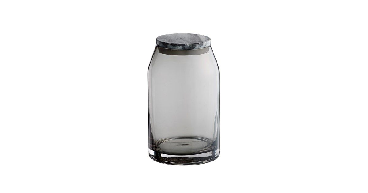 Marmor og farvet glas - De norkse designere Vera og Kyte har kombineret to af tidens hotteste materialer i den fine glasskål med marmorlåg.