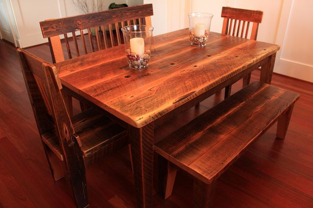 Farm Table Dining Set by Against the Grain Studio via Flickr Custom Dining table with bench and matching chairs