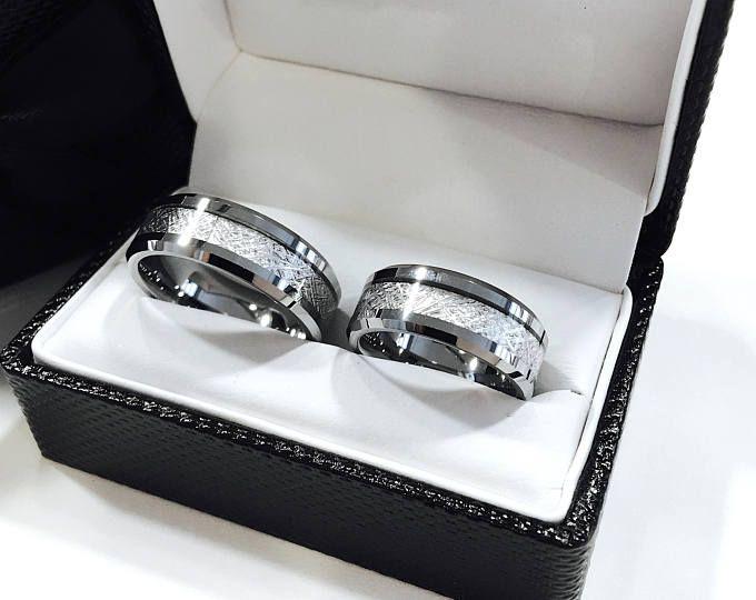 Mens Wolfram Eheringe Meteorit Ring Inlay Verlobungsring