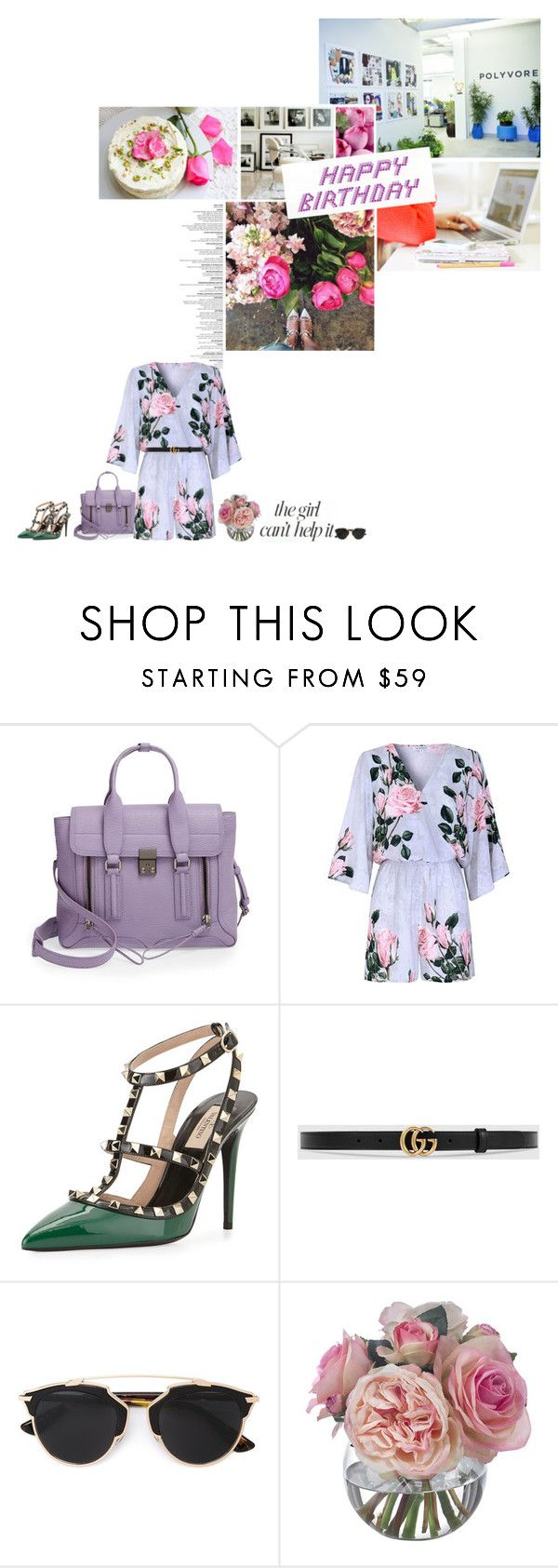 """Feliz & Happy"" by fearlessgilmore ❤ liked on Polyvore featuring 3.1 Phillip Lim, Jennifer Lopez, Glamorous, Valentino, Gucci, Christian Dior, La Vie en Rose, Diane James, women's clothing and women"