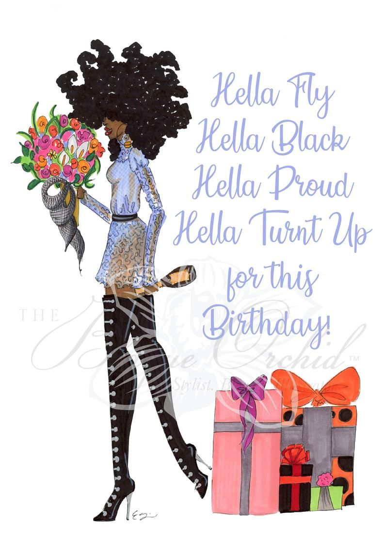 Birthday Card Black Greeting Card Black Girl Fashion Card African American Greeting Card A Turnt Up Birthday Happy Birthday Black Happy Birthday African American Happy Birthday Greetings Friends