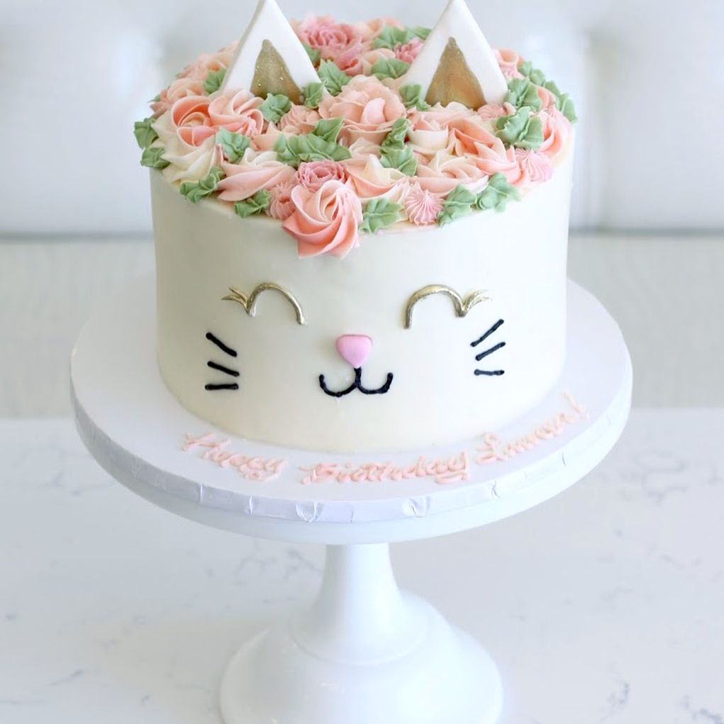 Cat Cake Less Flowers