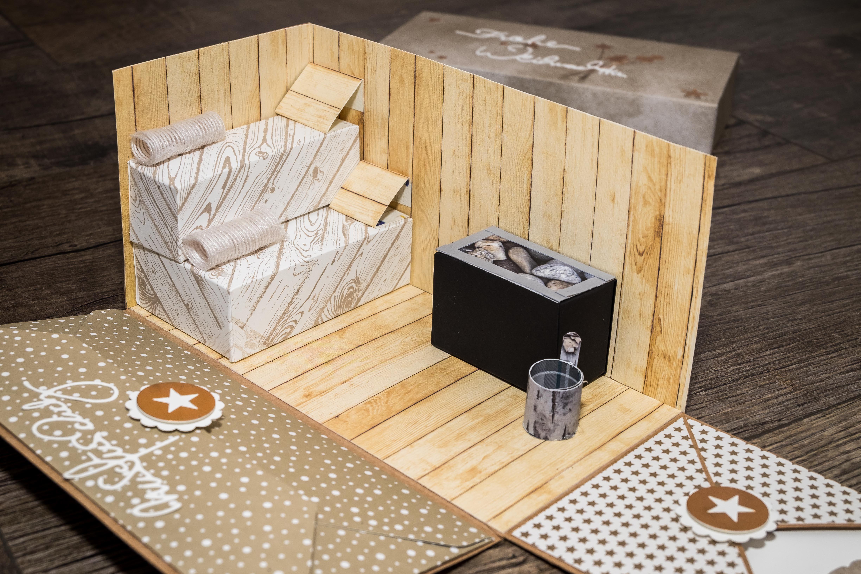 Explosionsbox zu Weihnachten zum verschenken eines Sauna Gutscheins · Gutschein IdeenGutschein BastelnSauna GutscheinGeschenke Selber MachenZum