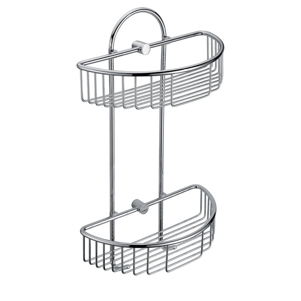 Alfi Brand AB9534 Polished Chrome Wall Mounted Double Basket Shower Shelf  Bathroom Accessory