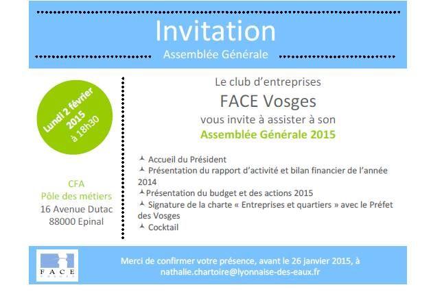 Invitation Ag Facevosges Lundi 2 Fev 18h30 Au Cfa D Epinal Bilan Financier Invitation Assemblee Generale