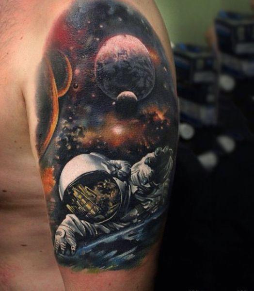 100 Astronaut Tattoo Designs For Men Spaceflight Ideas Space Tattoo Space Arm Tattoo Tattoo Designs Men