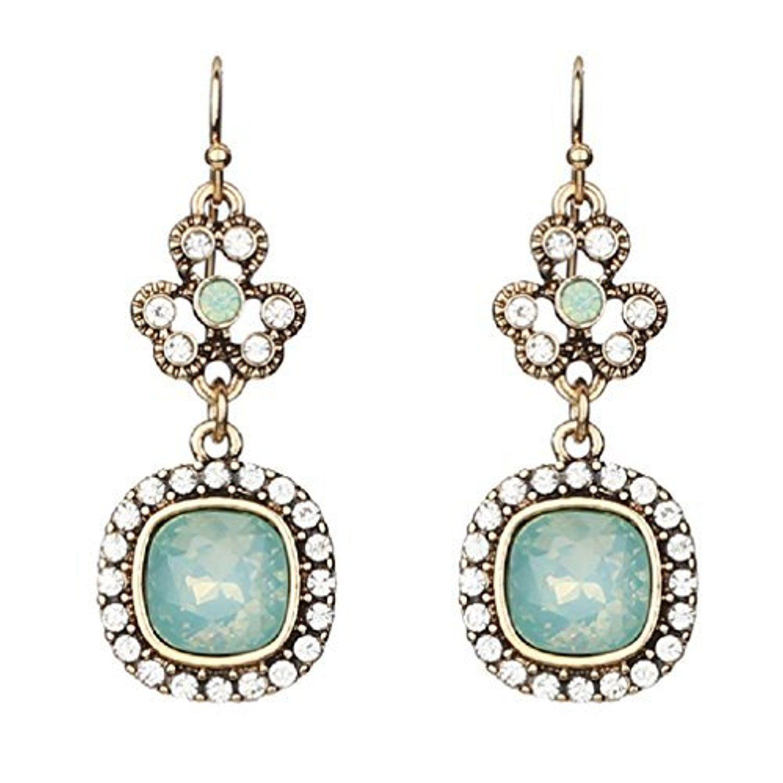 Chic Mint Green Gold Opal Crystal Chandelier Bohemian Earrings