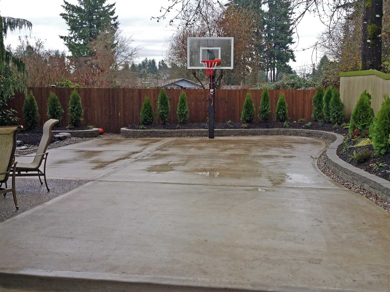 Concrete Backyard Landscaping Design the concrete slab basketball court is great exercise for the whole
