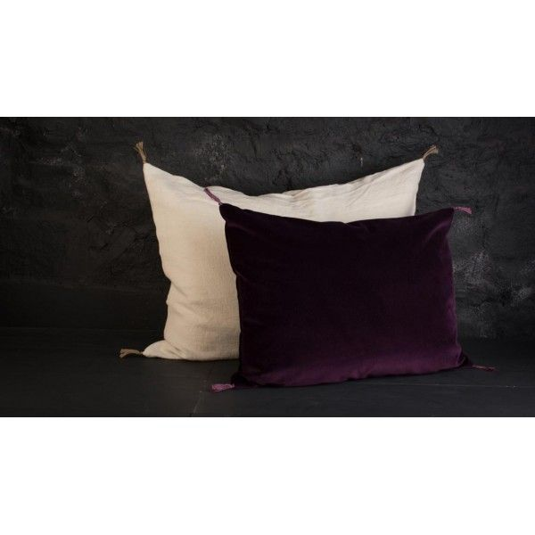 Coussin Caravane Velours Smooth Prunelle