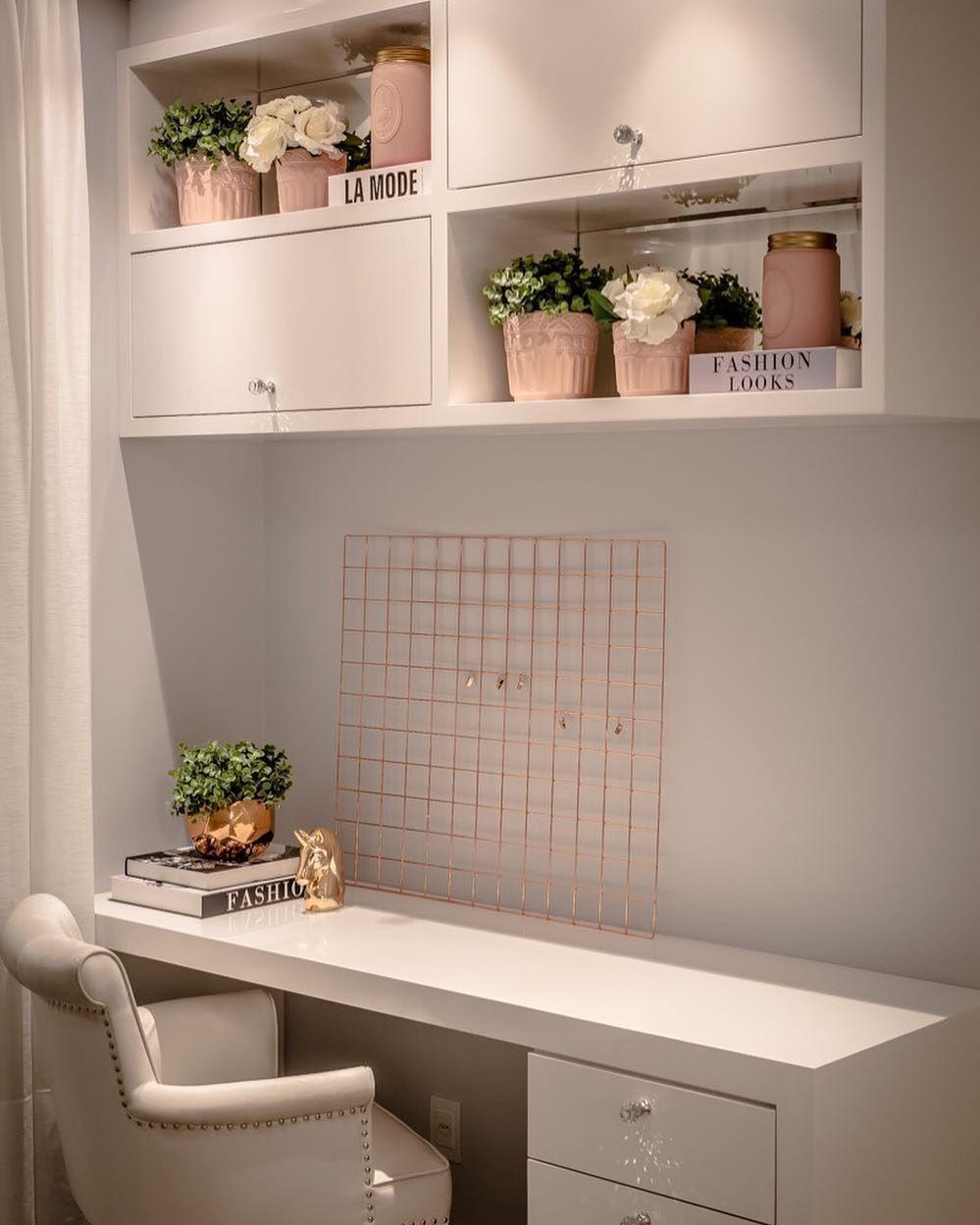 Escrivaninha branca 60 modelos para decorar seu escritório com classe -> Onde Comprar Decoração De Halloween