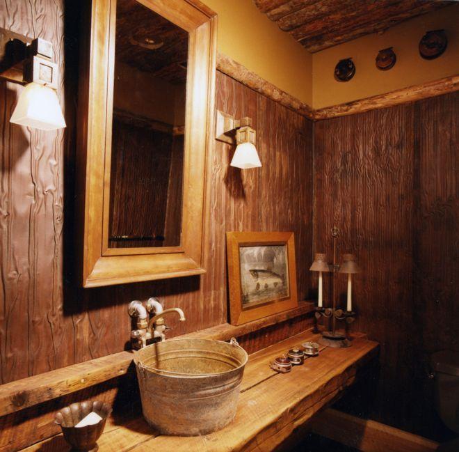 Rustic Cabin Bathroom. Use Of Wood On Ceiling & Walls