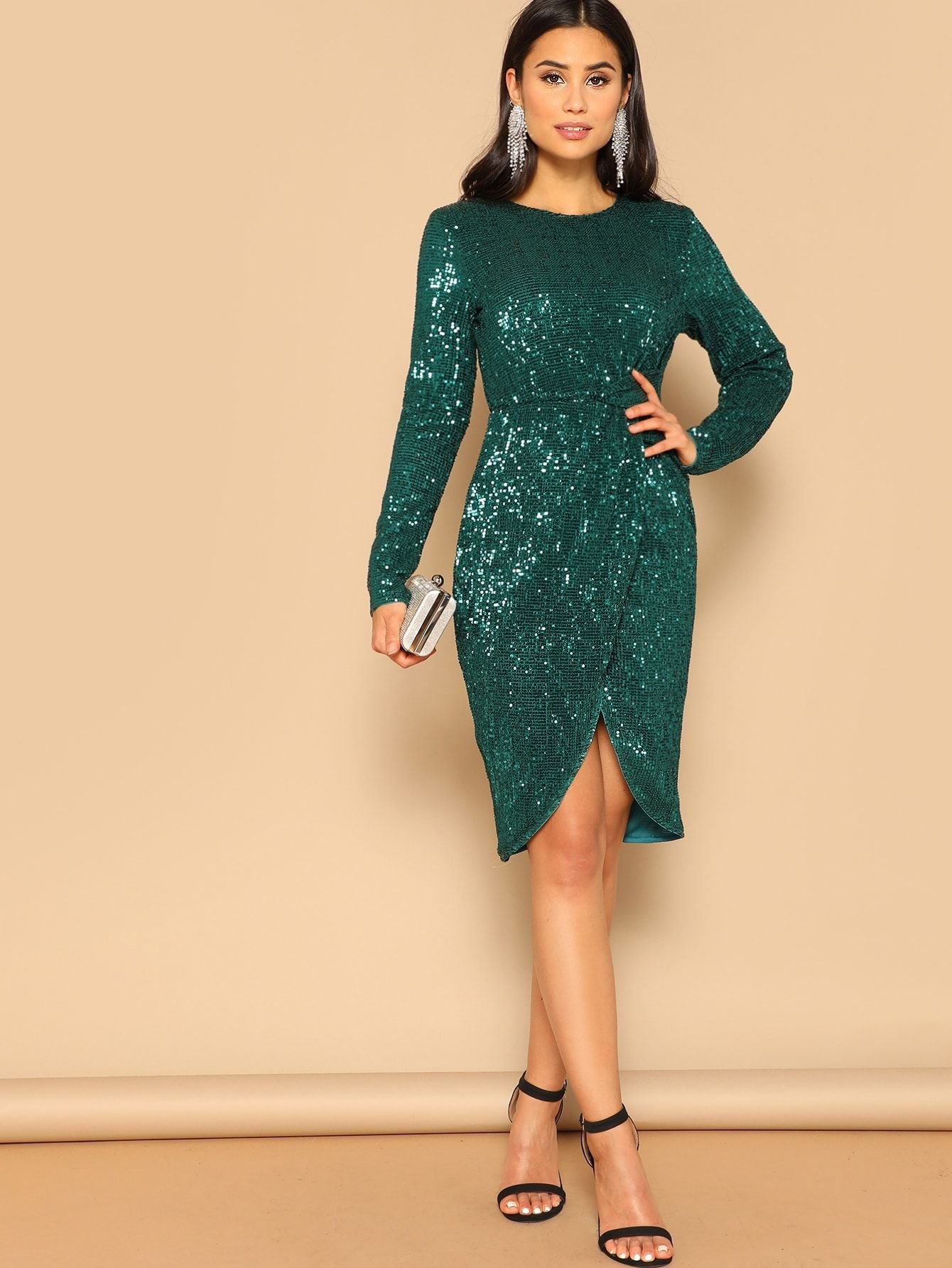 21569c69dee80 Party Sequins Plain Bodycon Round Neck Long Sleeve Regular Sleeve High  Waist Green Knee Length Twist Waist Tulip Hem Sequin Dress