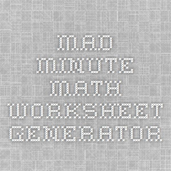 Mad Minute Math Worksheet Generator School Pinterest