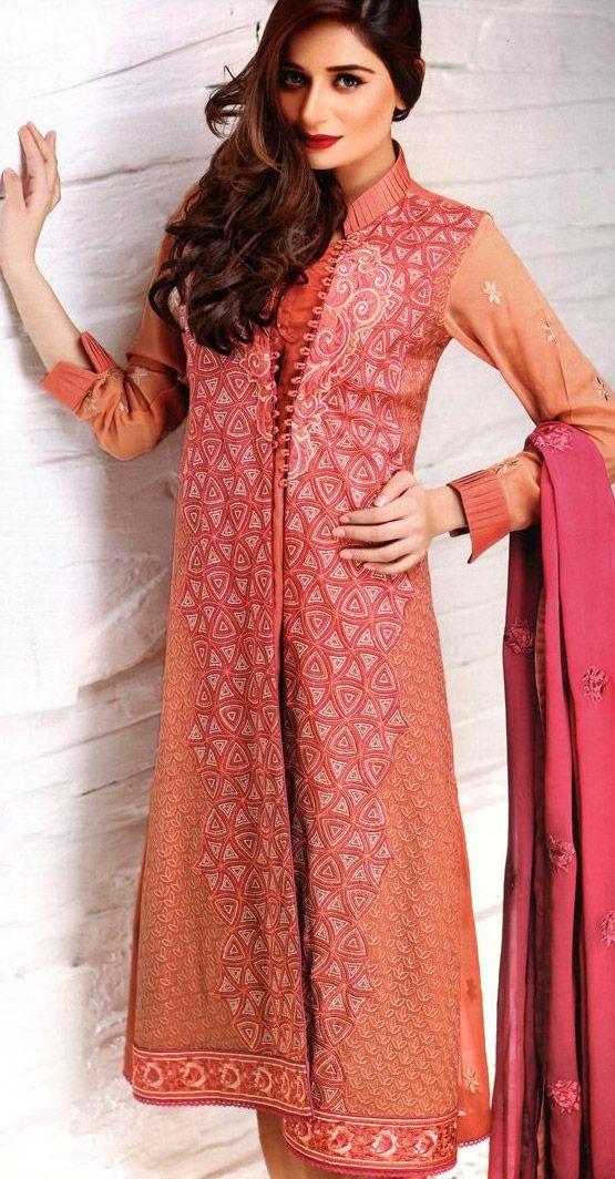 Peach Embroidered Chiffon Suit $131.99 SEMI PARTY DRESSES Pakistani ...