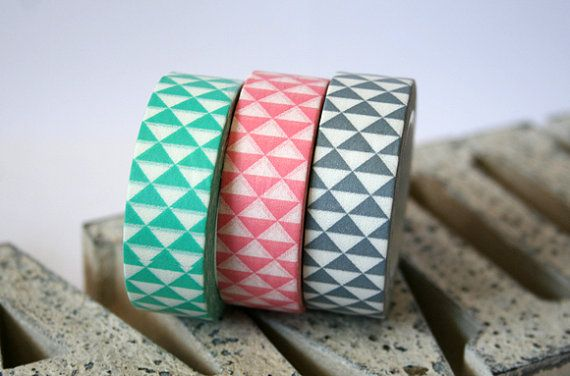 Pastel Triangle Mint/Light Pink/Gray Washi Tape Set of 3 on Etsy, $6.50