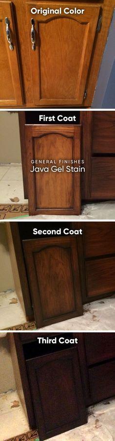 General Finishes Gel Stain, Java #honeyoakcabinets