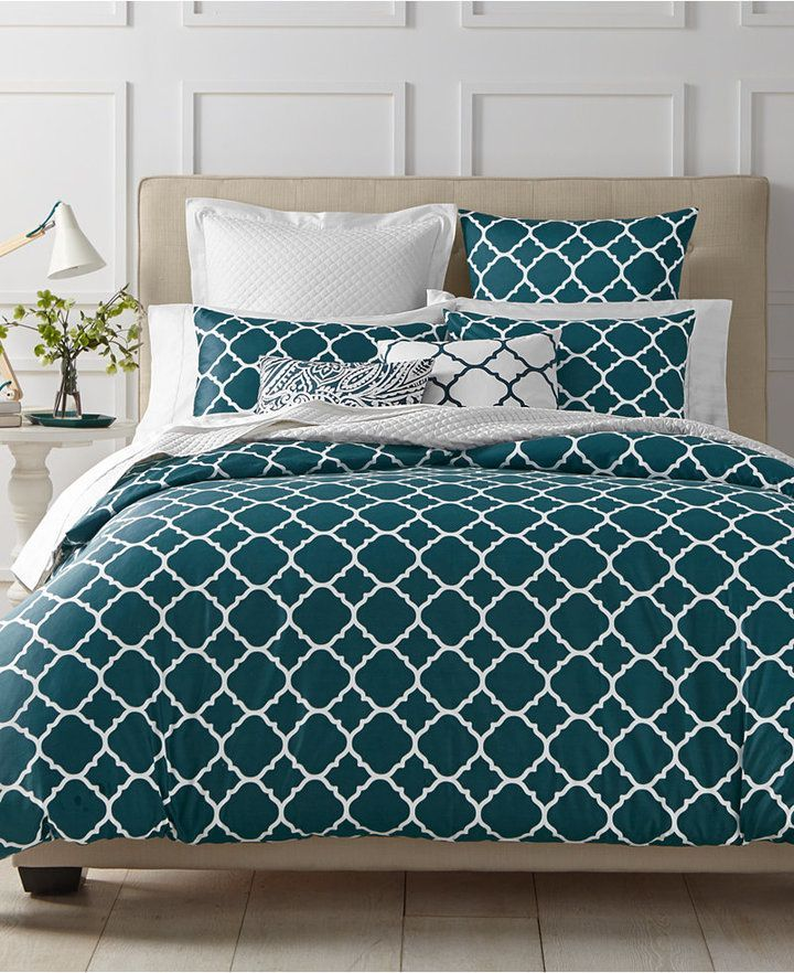 Charter Club Damask Designs Geometric Peacock 3 Pc Full Queen Duvet