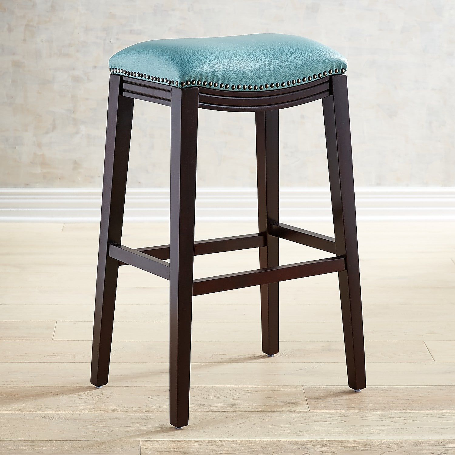 Marvelous Halsted Aqua Blue Counter Bar Stool With Espresso Legs Onthecornerstone Fun Painted Chair Ideas Images Onthecornerstoneorg