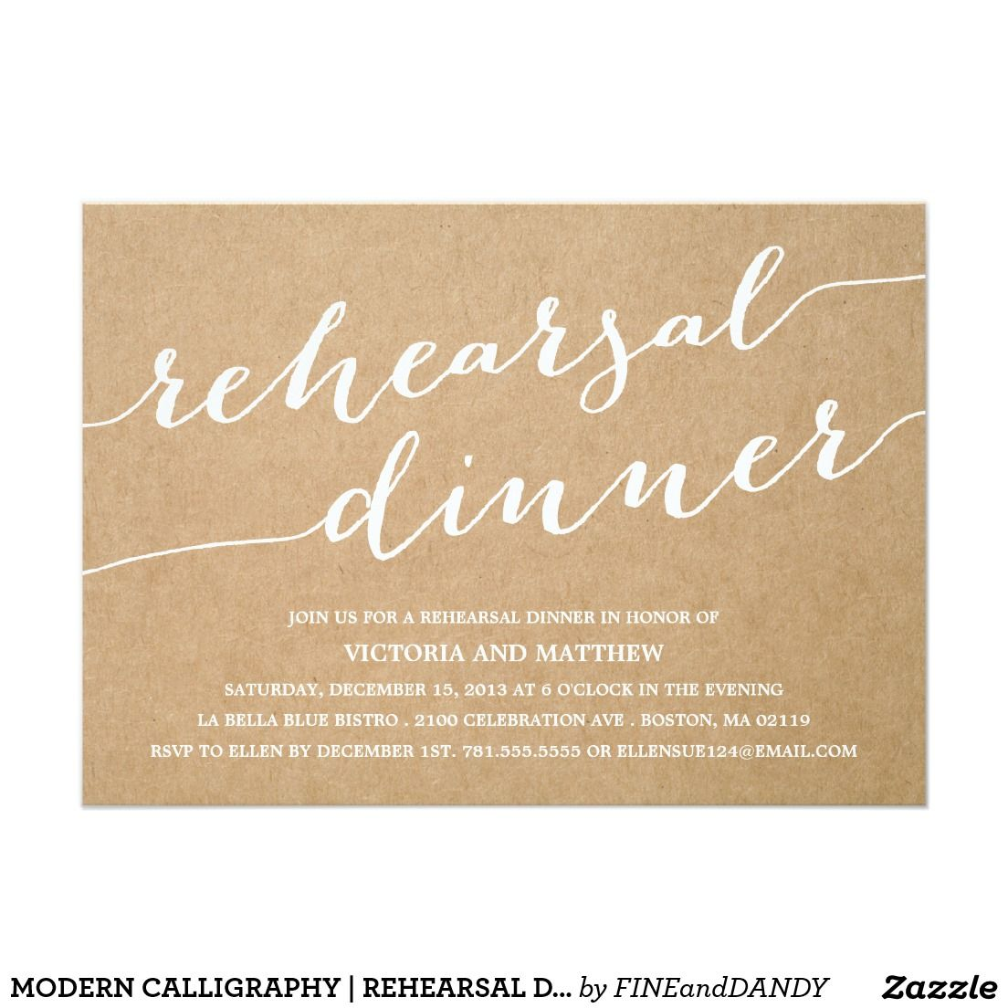 Modern Calligraphy Rehearsal Dinner Invitation Wedding
