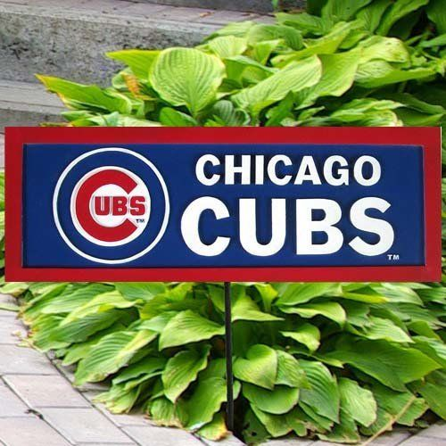 Team Sports America MLB0134-703 Garden Sign by Team Sports America. $14.95. Team:Chicago Cubs Garden Sign  This garden sign looks great in the flower bed, garden or along a walkway. Team name and logo is cold casted on one side. The sign is painted with team colors and comes with a stake. Made for outdoors with weatherproof resin, but looks great indoors as well.. Save 56% Off!