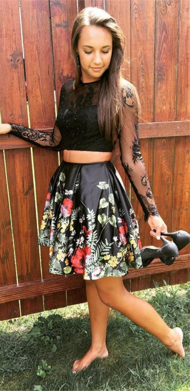 Two Piece Round Neck Open Back Long Sleeves Black Floral Prom Dress