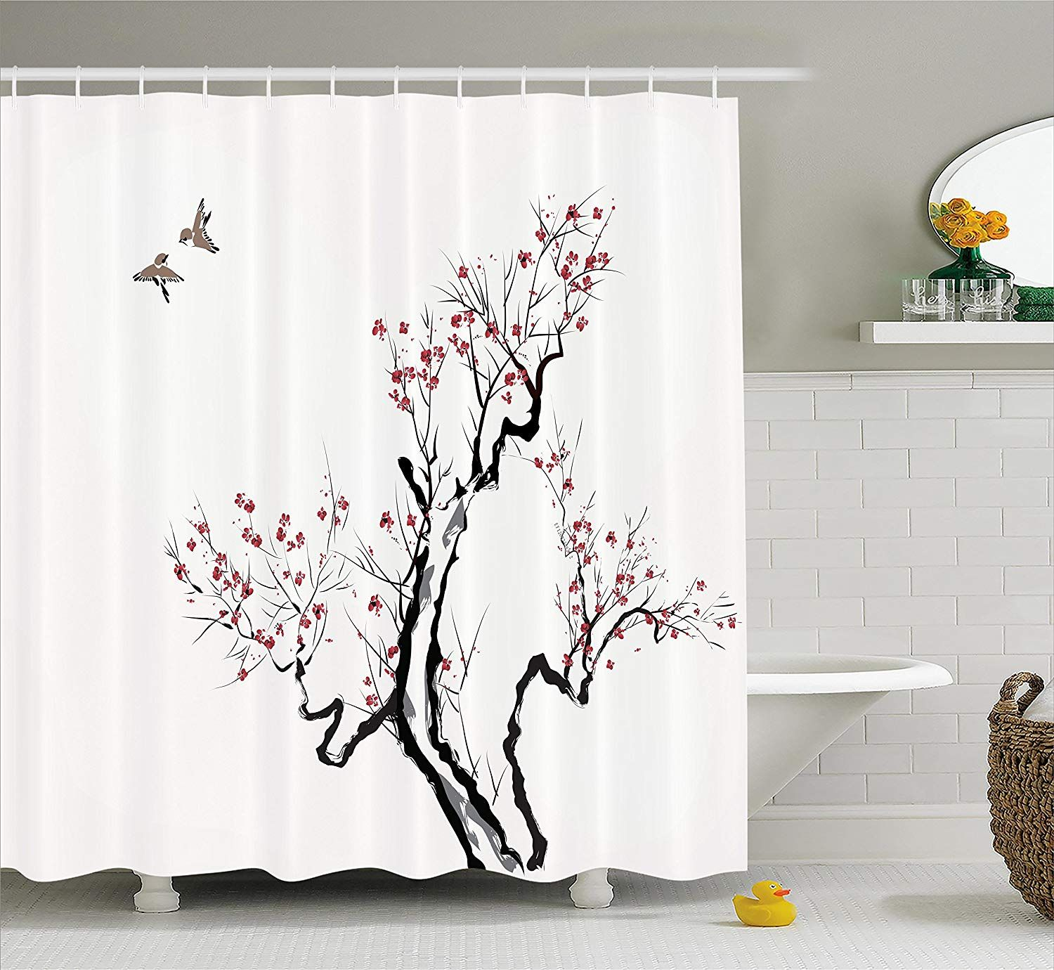 Bathroom Shower Curtains Pink Blossoms Decor Leaves And Plants Spring Flowers Multi Polyeste Bathroom Decor Patterned Shower Curtain Bathroom Shower Curtains