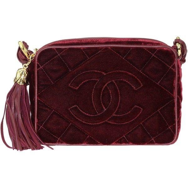 d5341b0ccd2c Pre-Owned Chanel Vintage Burgundy Velvet Tassel Camera Bag ( 1