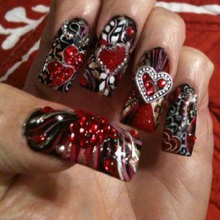 Alice in wonderland nails by sky nail design nail art nail queen of hearts nails prinsesfo Choice Image