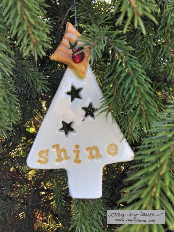 holiday tree ornament shine www claybylaura com