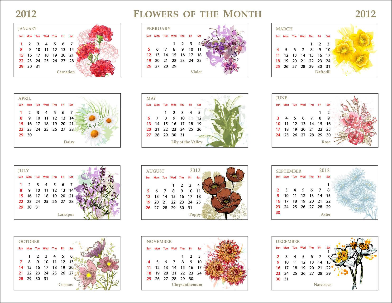 Unique calendar featuring the flowers of the month flower birth pictures flowers meaning google search izmirmasajfo Images