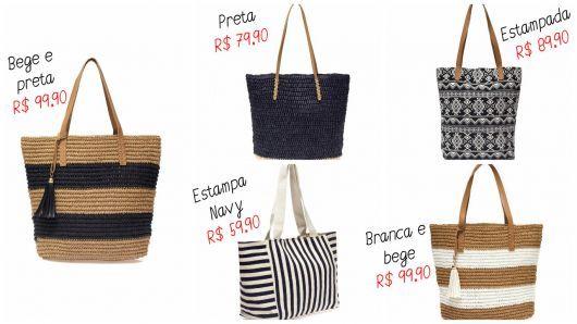 6002bb244 modelos riachuelo | Bolsas | Bolsas, Bolsas de praia de palha et ...