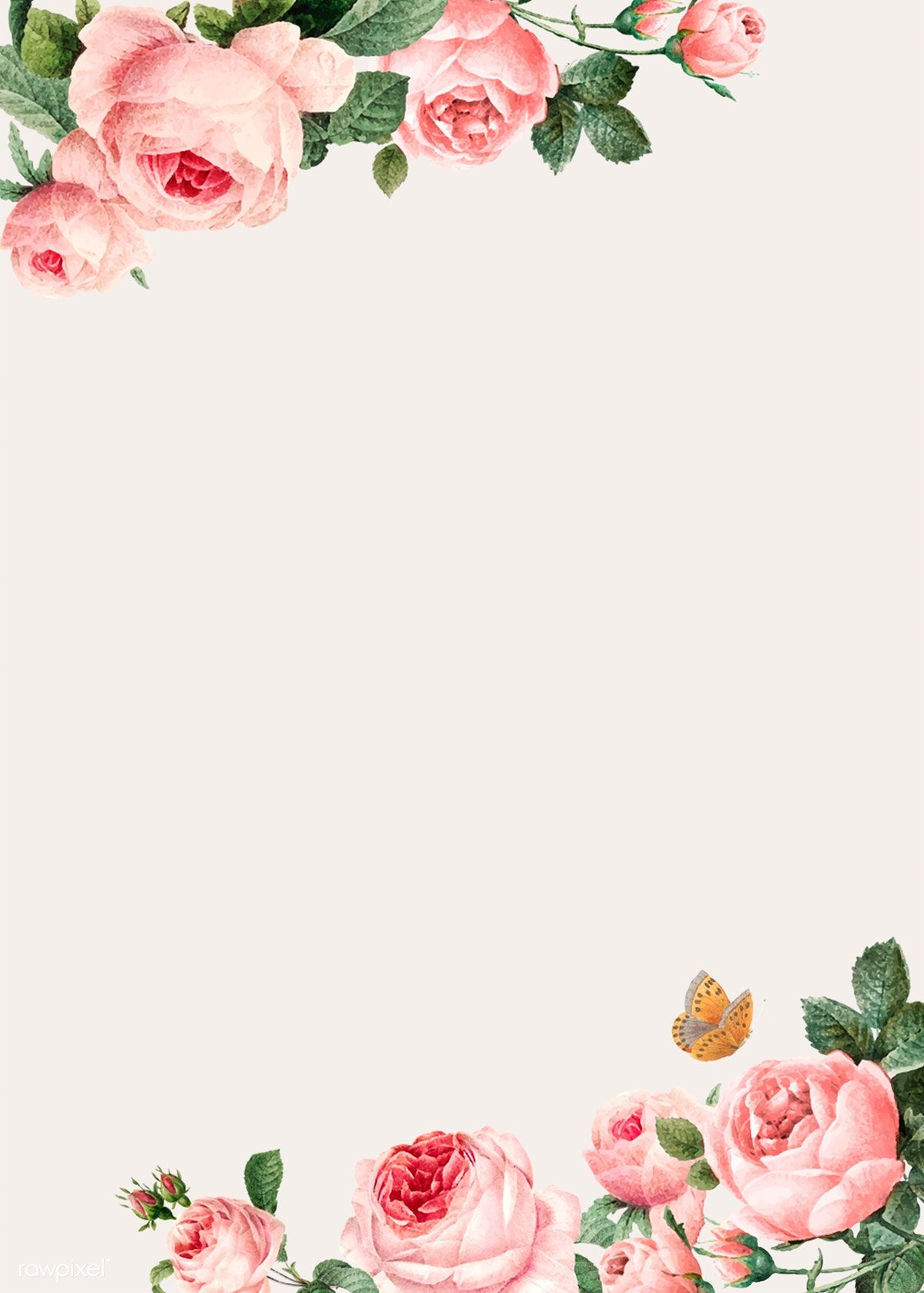 Download Premium Vector Of Hand Drawn Pink Roses Frame On Beige Background Pink Roses Background Rose Frame How To Draw Hands