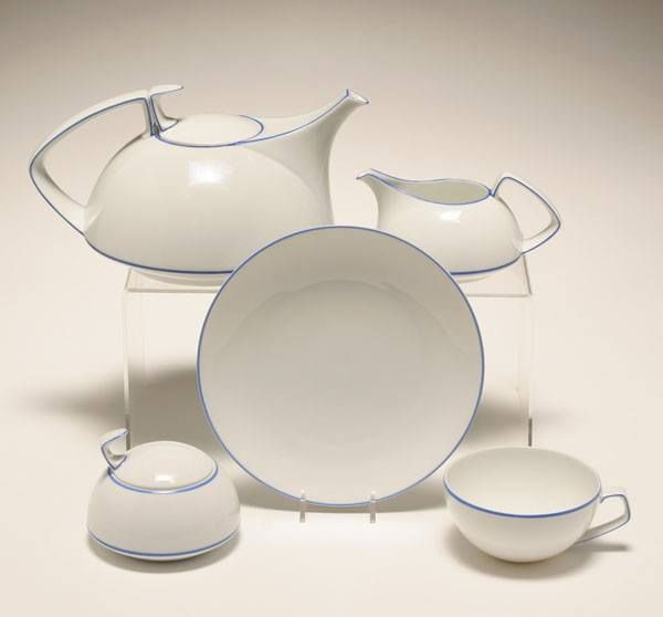 Art Deco Bauhaus Tea Set By Walter Gropius For Rosenthal Ca1930