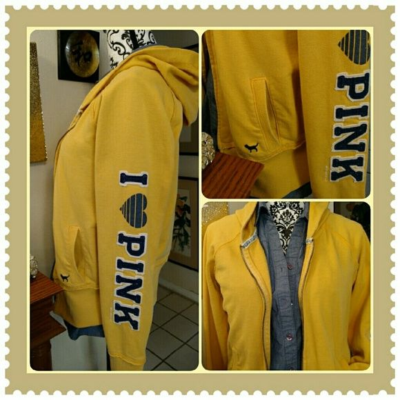 PINK Yellow & Blue Hoodie! Sunflower yellow with I Love Pink down the sleeve in a pretty blue! The jacket has been worn & loved with care! It's only missing the hoodie tie! Price will reflect this! It's a really cute one!!! PINK Victoria's Secret Tops Sweatshirts & Hoodies