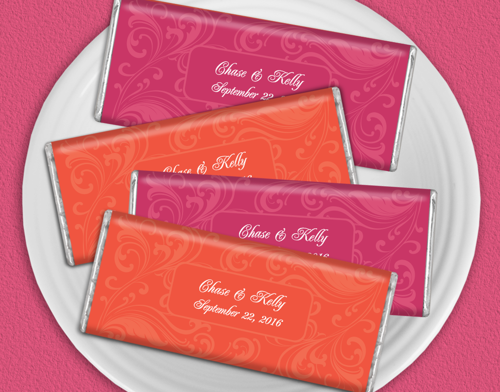 Tangerine and Pink Wedding Inspiration: Personalized HERSHEY\'S bars ...