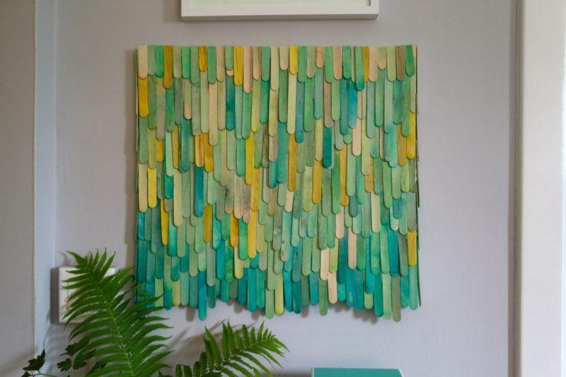 20 Creative Diy Dollar Store Wall Art Ideas Stick Wall Art Craft Stick Crafts Popsicle Stick Art