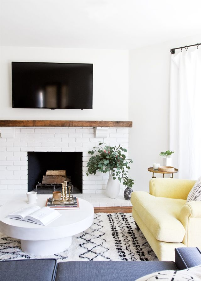 Without The Tv Modern Rustic Living Room Makeover Before After Sarah Sherman Samuel