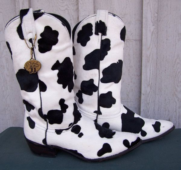 Vintage Cow Print Cowboy Boots, J. Chisholm | Womens Cowgirl Boots ...