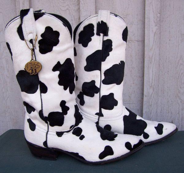 Vintage Cow Print Cowboy Boots J Chisholm Womens
