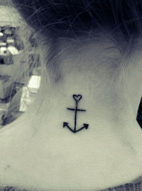 Small anchor on the back of the neck