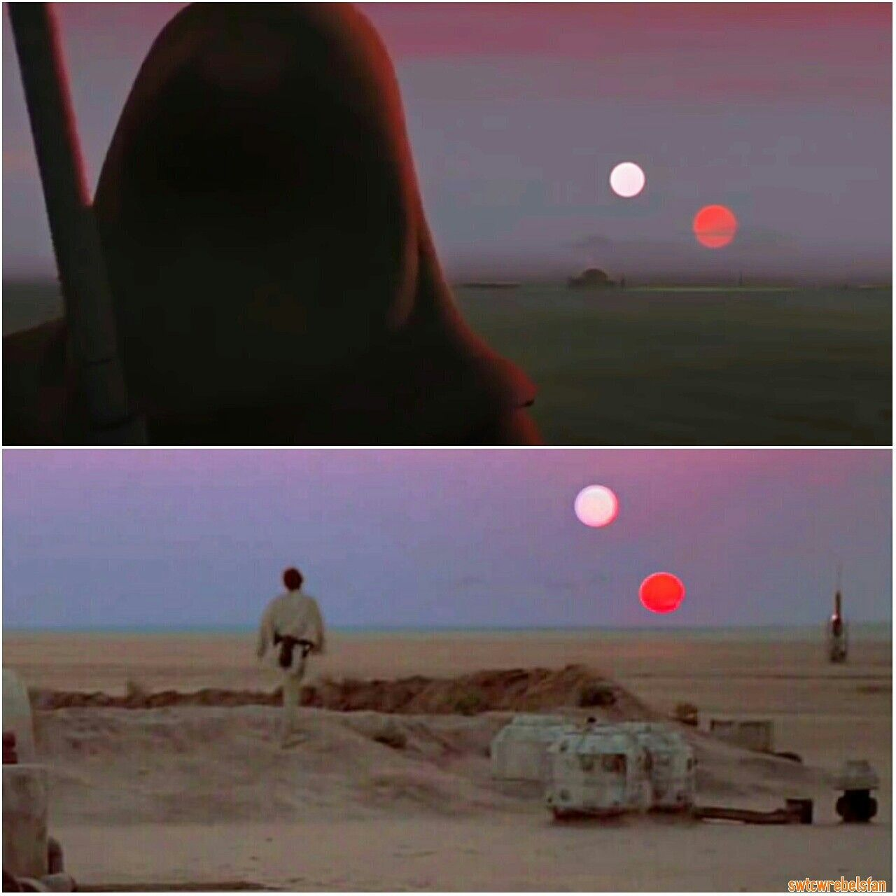 Twin Suns Similarscene In Starwarsrebels And Anewhope Starwars Twinsuns Tatooine Obiwankenobi Lukeskywalker Star Wars Rebels Star Wars Movie Star Wars