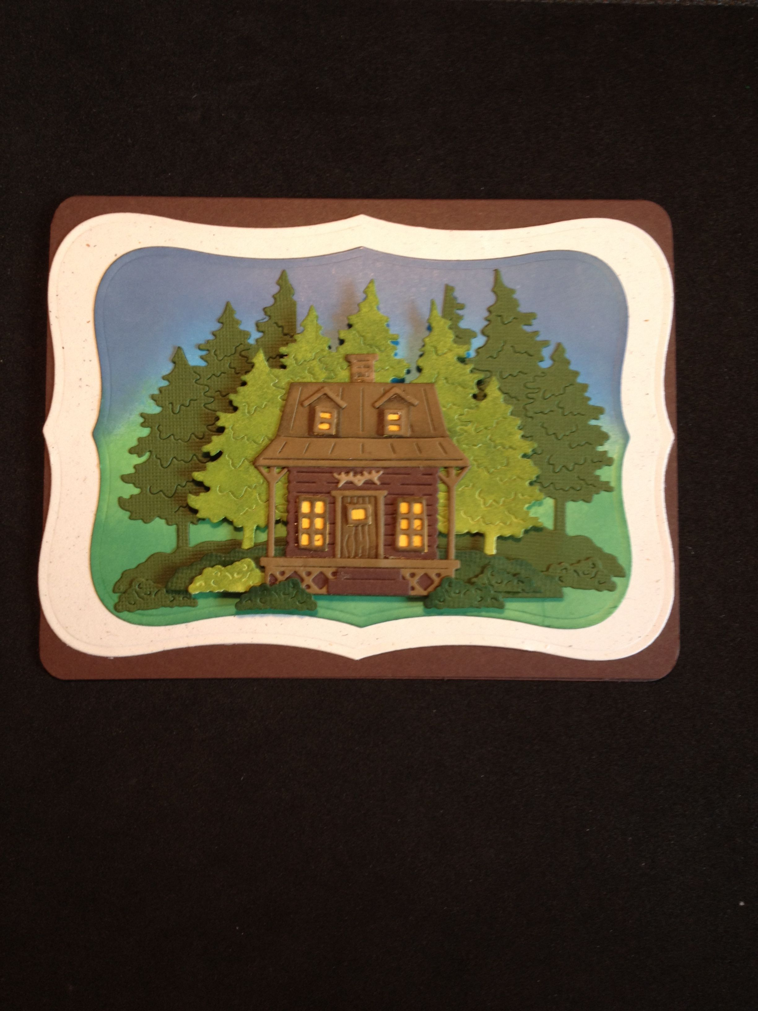 Cardstock - Stampin Up Cottage Cutz Die - Woodland Cabin  Inks - Distress Inks